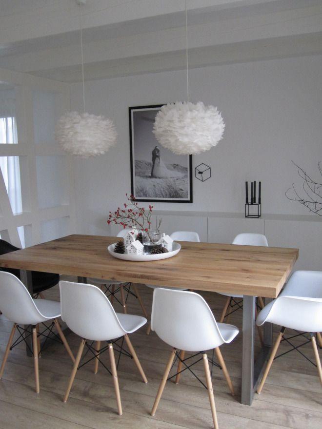 Eiken houten vloer met een massief eiken tafel met metalen poten - esszimmer 2 wahl