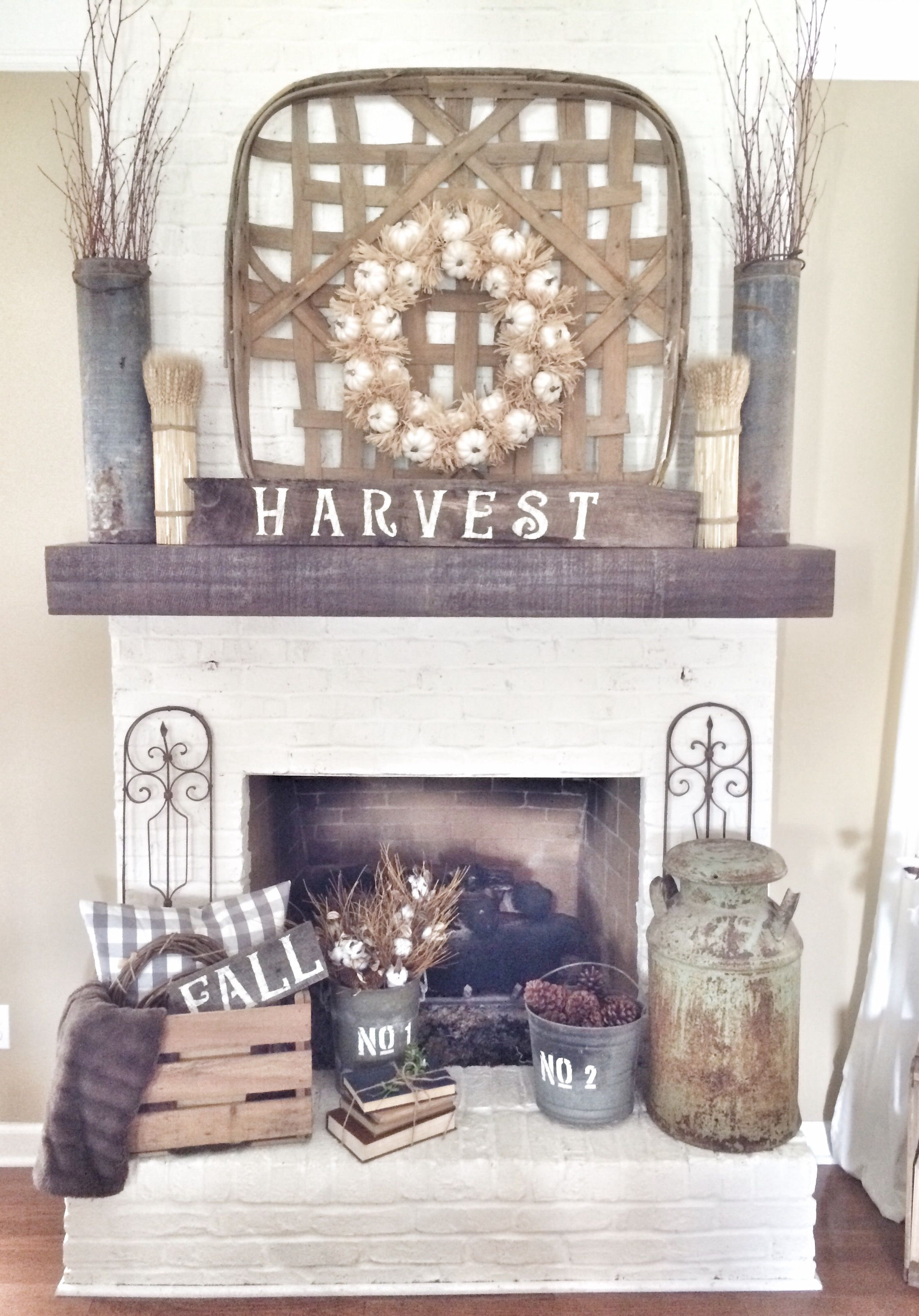 Fireplace Mantel Decor With Tv Rustic Fall Fireplace In Neutrals Falldecor