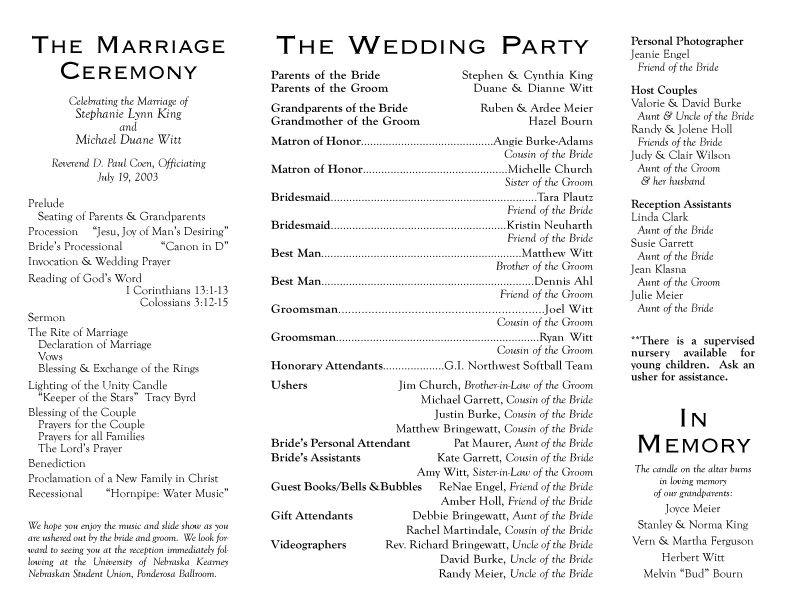 wedding program wording examples everything wedding ideas wedding - wedding agenda sample