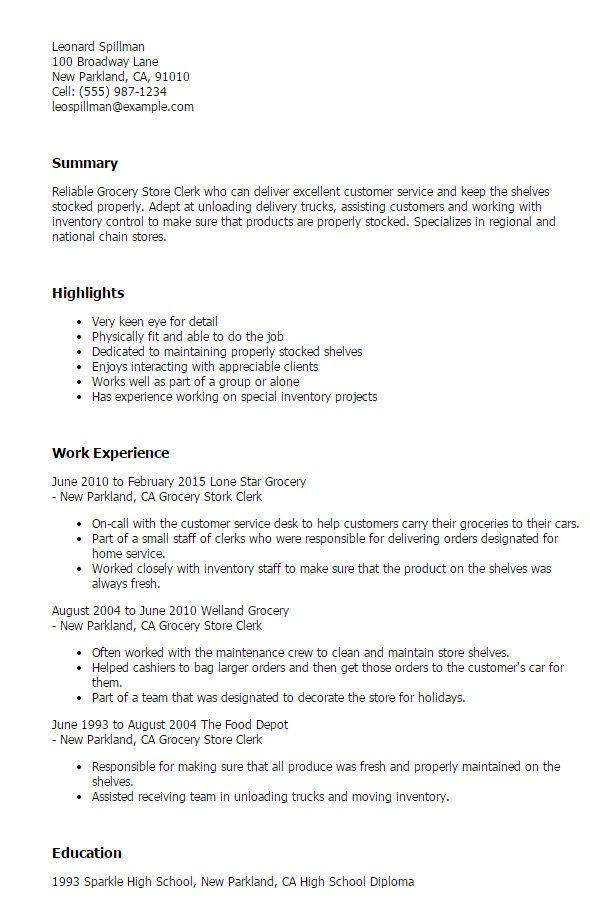 Grocery Store Clerk Resume - http\/\/jobresumesample\/1514 - store clerk resume