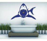 Shark wall decal clock, sticker, mural, vinyl wall art ...