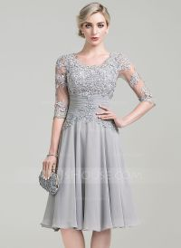 A-Line/Princess Scoop Neck Knee-Length Chiffon Mother of ...