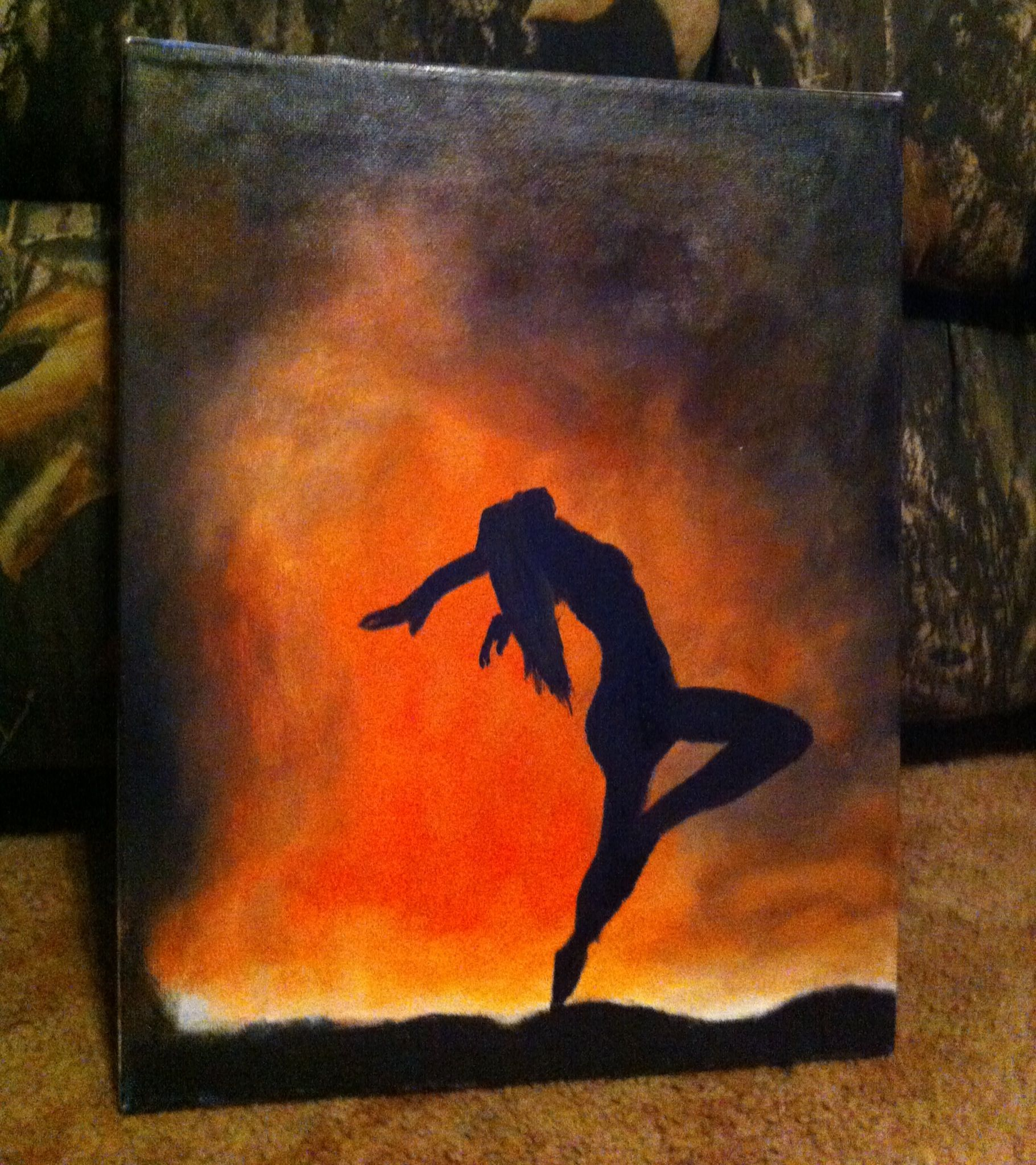 Abstract Painting Of Girl Dancing Dancing Fire Painting Art Pinterest Fire Painting
