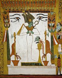 Osiris wall painting in the vaulted tomb of Sennedjem ...