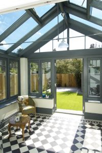 Beautiful contemporary conservatory with chequerboard ...
