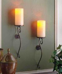 Set of 2 ivory led flameless candle wall sconces living ...