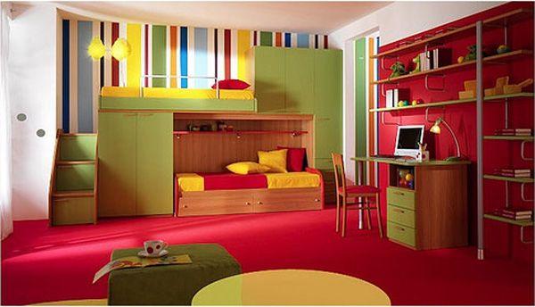 Bedroom, Appealing Dominant Red Color Kids Room Design Ideas: Blue