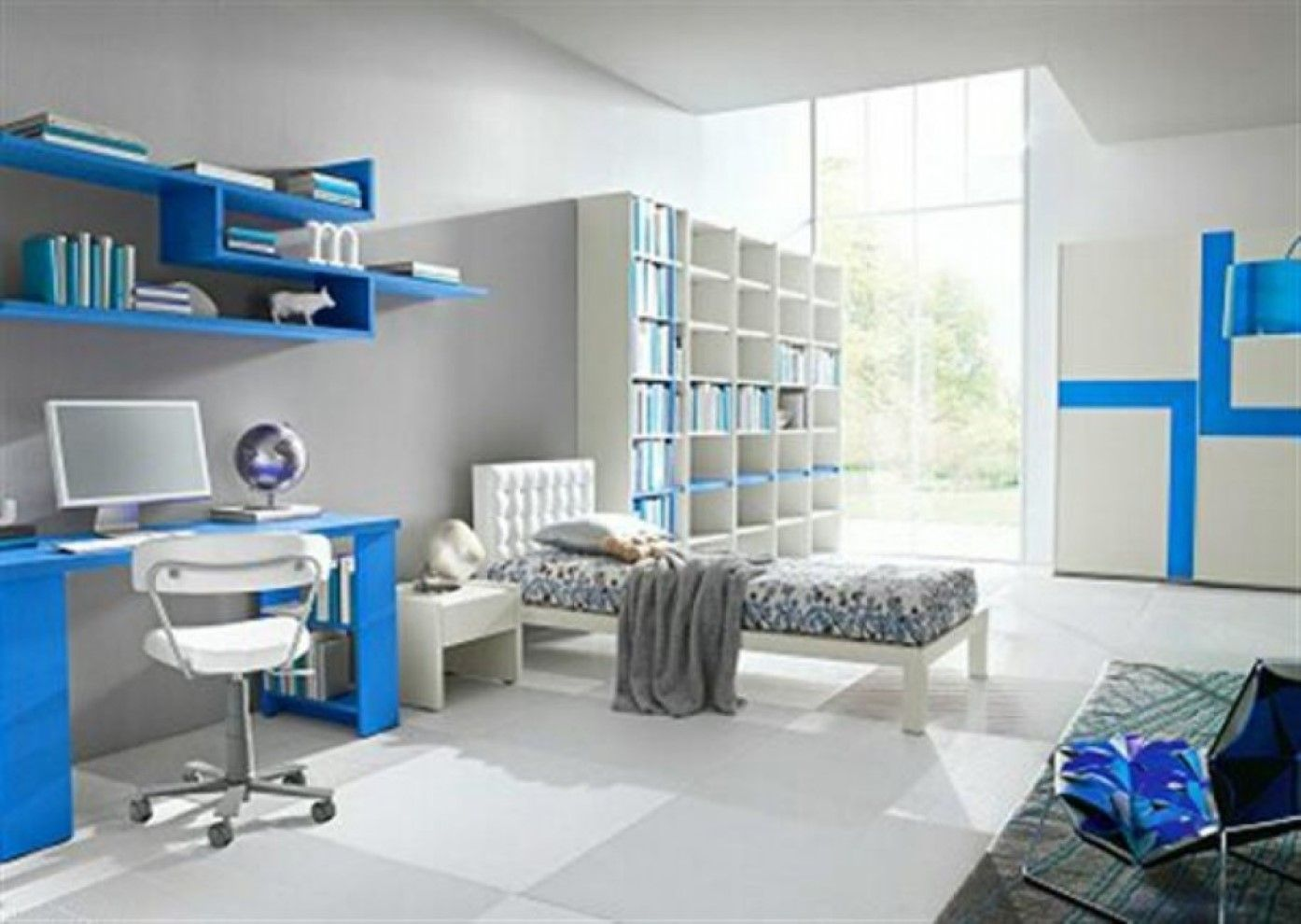 Cool Beds For Boys Stylish Computer Chair Feats Hanging Wall Bookshelf Also