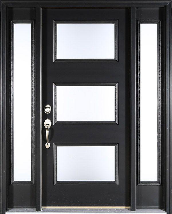 Contemporary black front door: Clopay ENERGY STAR smooth
