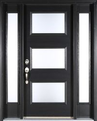 Contemporary black front door: Clopay ENERGY STAR smooth