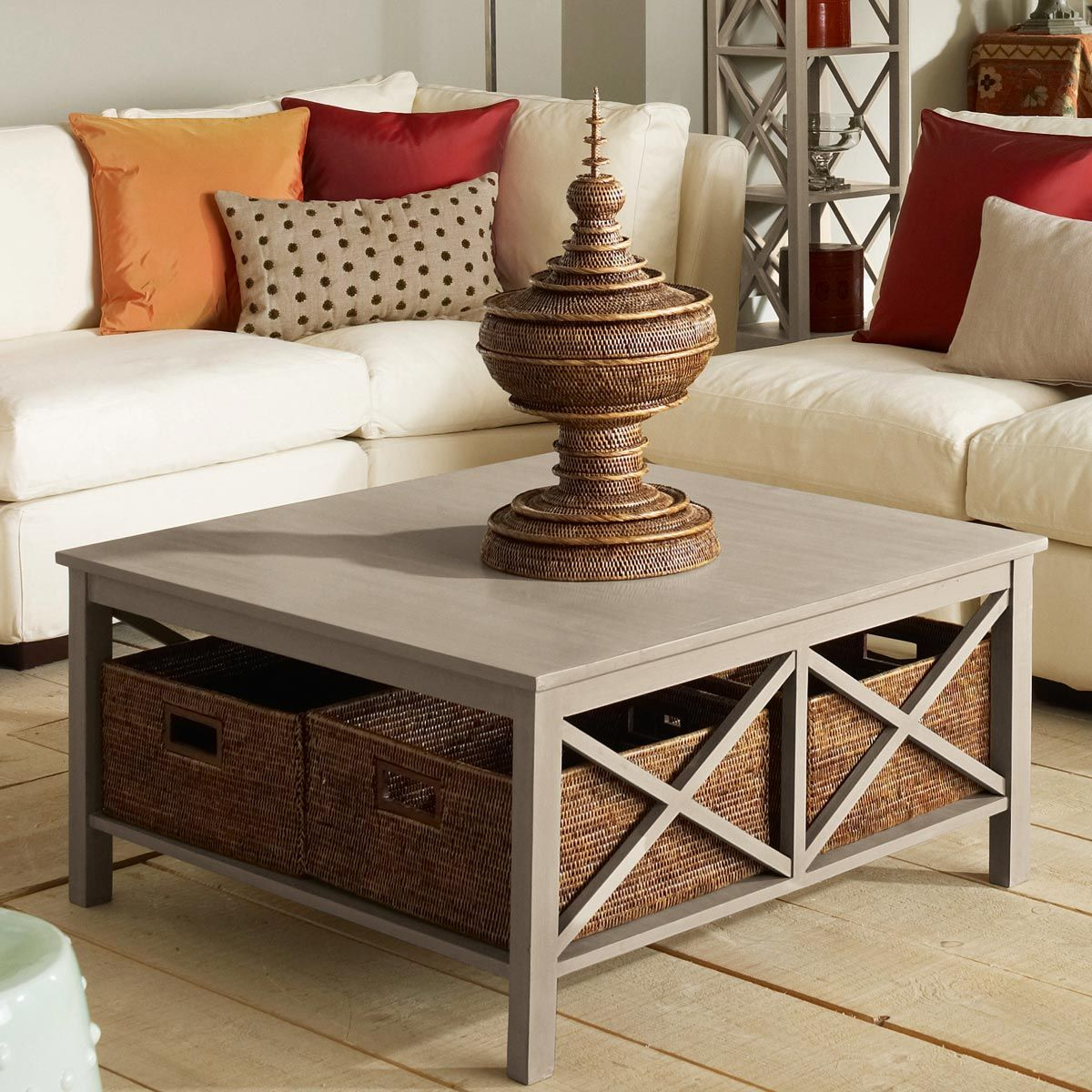 Large Square End Table Saltire Large Square Coffee Table With Storage More