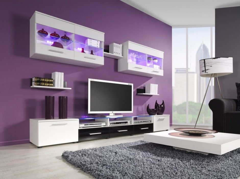 This lavender color on my entertainment center wall with light - the living room center