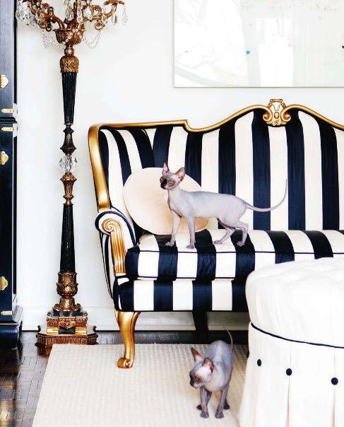 stripes sofa, black and white sofa, pattern sofa For more sofas - black white and gold living room ideas