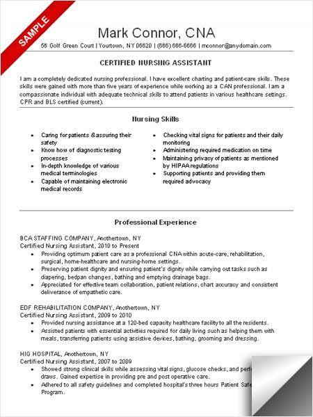 Cna Resume Template Free Nursing Assistant Resume The Resume - cna resume template