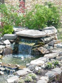 Small pond waterfall with cantilevered rock and hidden ...