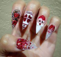 Custom 3D Christmas stiletto nails |  Winter Wonderland ...