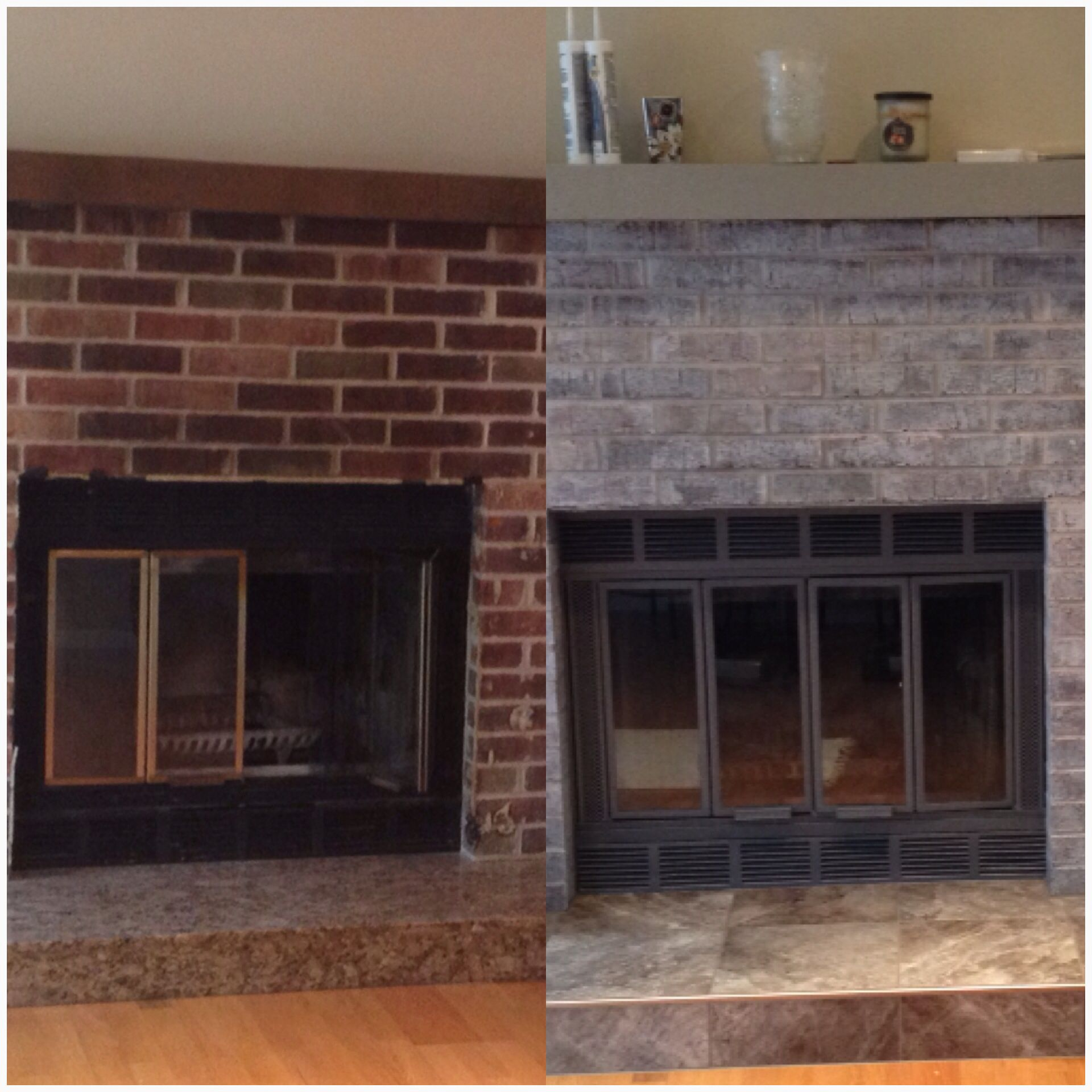 Painting Over Fireplace Dyi Fireplace Make Over I Paint Washed The Brick With A