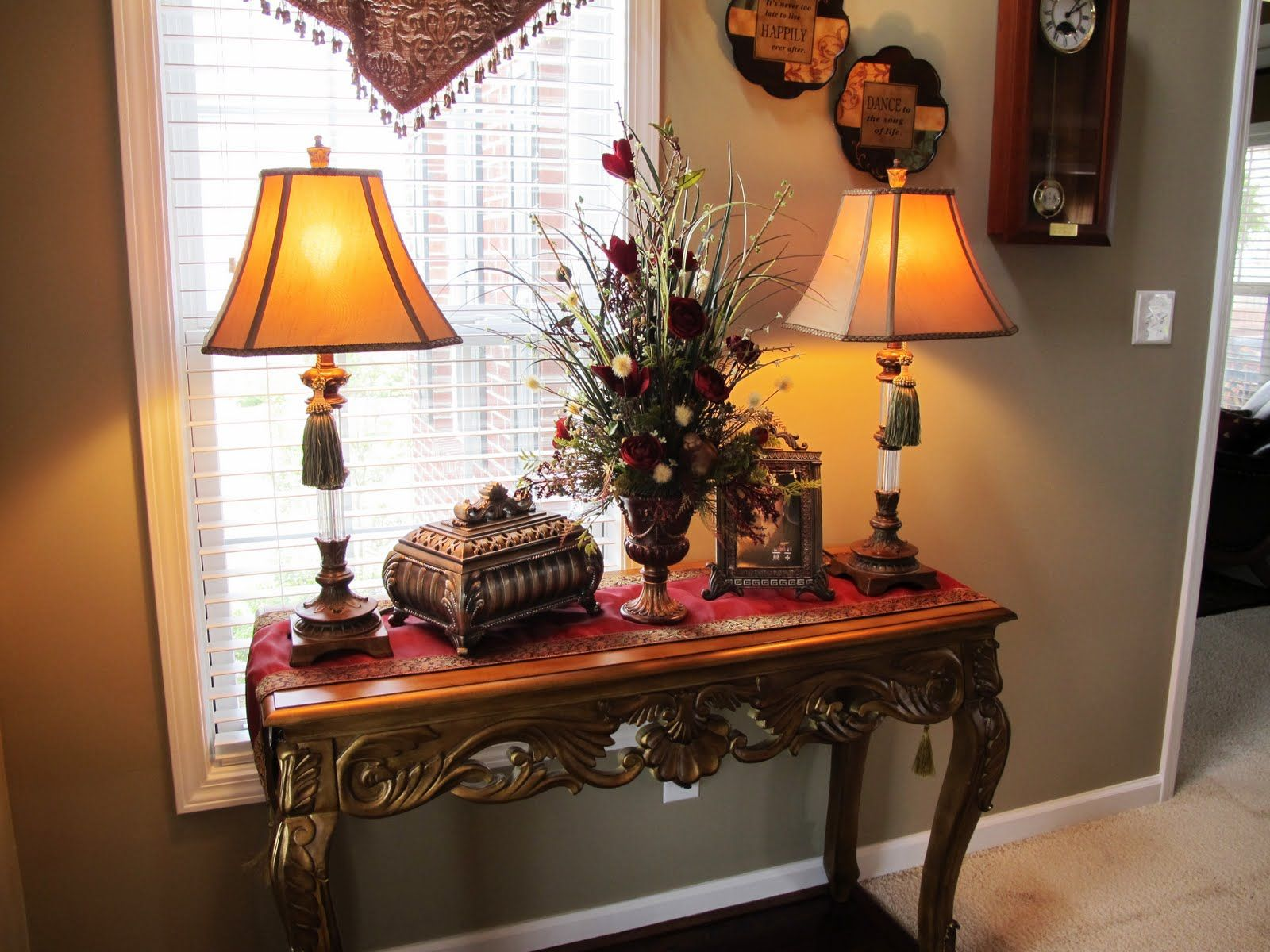 Table Decor And More Warm Home Decor Love Tassels On Lamps Foyer Tables