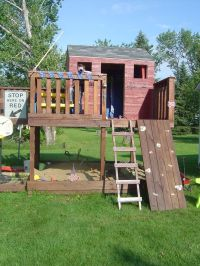 Kids fort, swing set, climbing rocks, ladder, slide | Fort ...