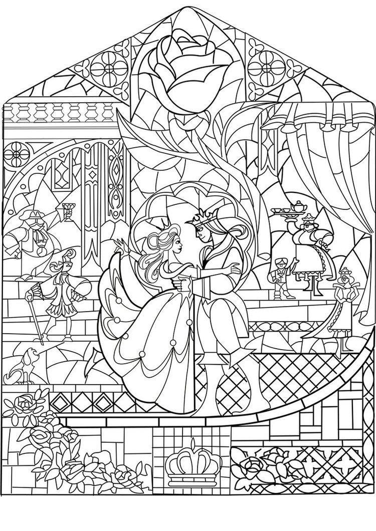 Free coloring page coloring adult prince princess art nouveau style