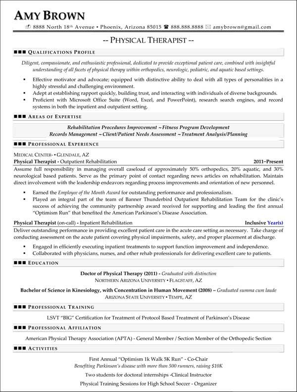 physical therapy resume example Physical Therapist resumes - physical therapist resume