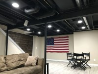 Exposed basement ceiling painted black. | Basement ideas ...