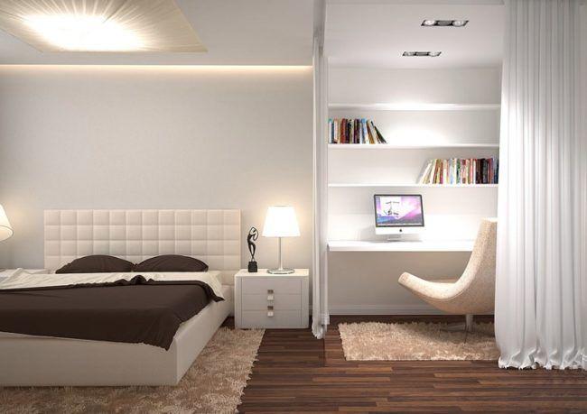 schlafzimmer-weiss-braun-modern-beleuchtung-arbeitsbereich - schlafzimmer weis braun modern