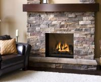 Natural Stone Veneer Firepalce with dark wood mantel ...