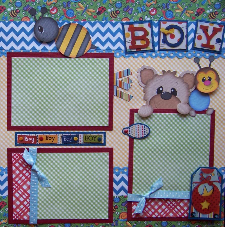 Sweet baby boy 2 premade scrapbook pages layout 12x12 for album ebay