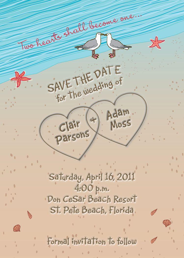 wedding invitations beach theme Beach Themed Wedding Invitations