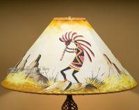 """Southwest Leather Lampshade 22"""" -Kokopelli (12b)   Painted ..."""
