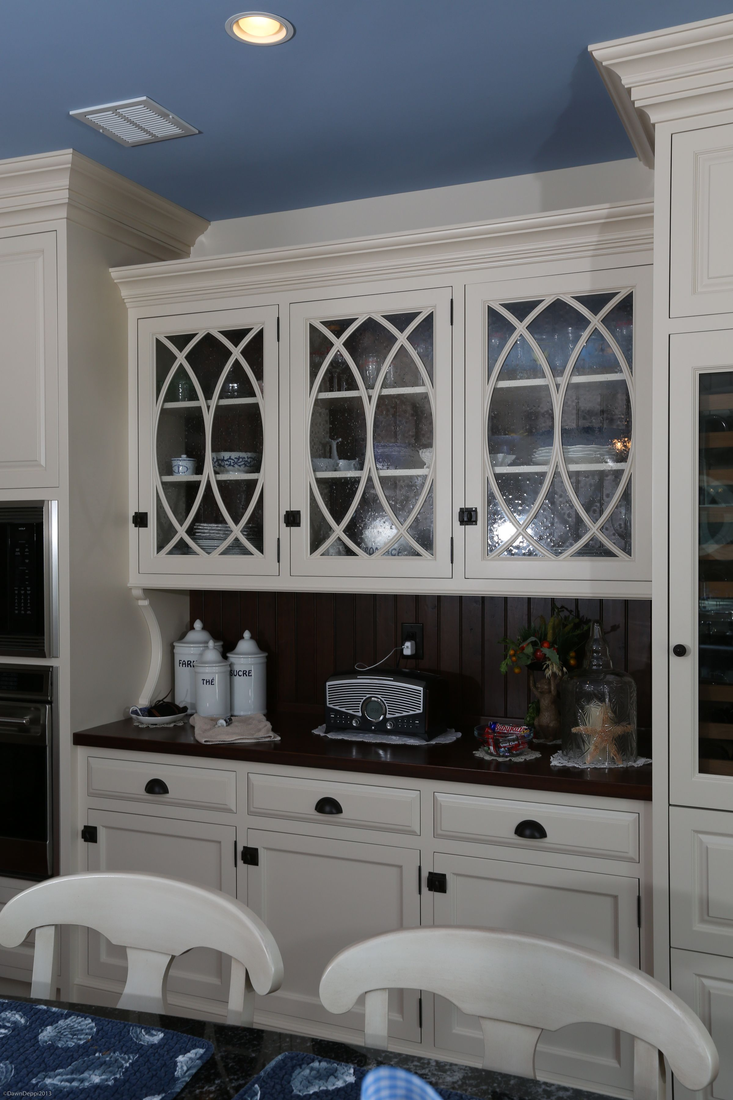 Beaded Glass Kitchen Cabinets White Painted Hutch Cabinetry With Curved Mullions And