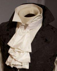 White SILK Regency Historic Victorian White JABOT Tie ...