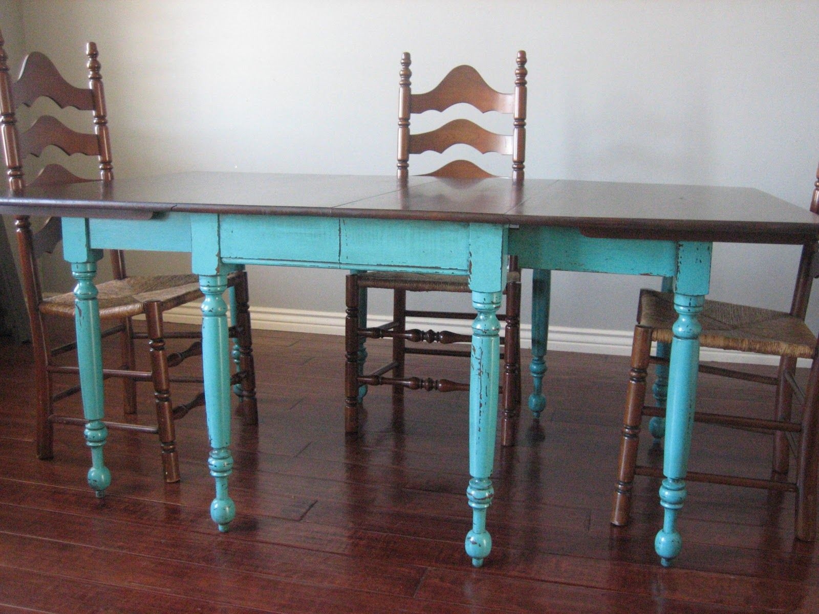 turquoise table teal kitchen chairs European Paint Finishes Teal Dining Table Ladderback Chairs