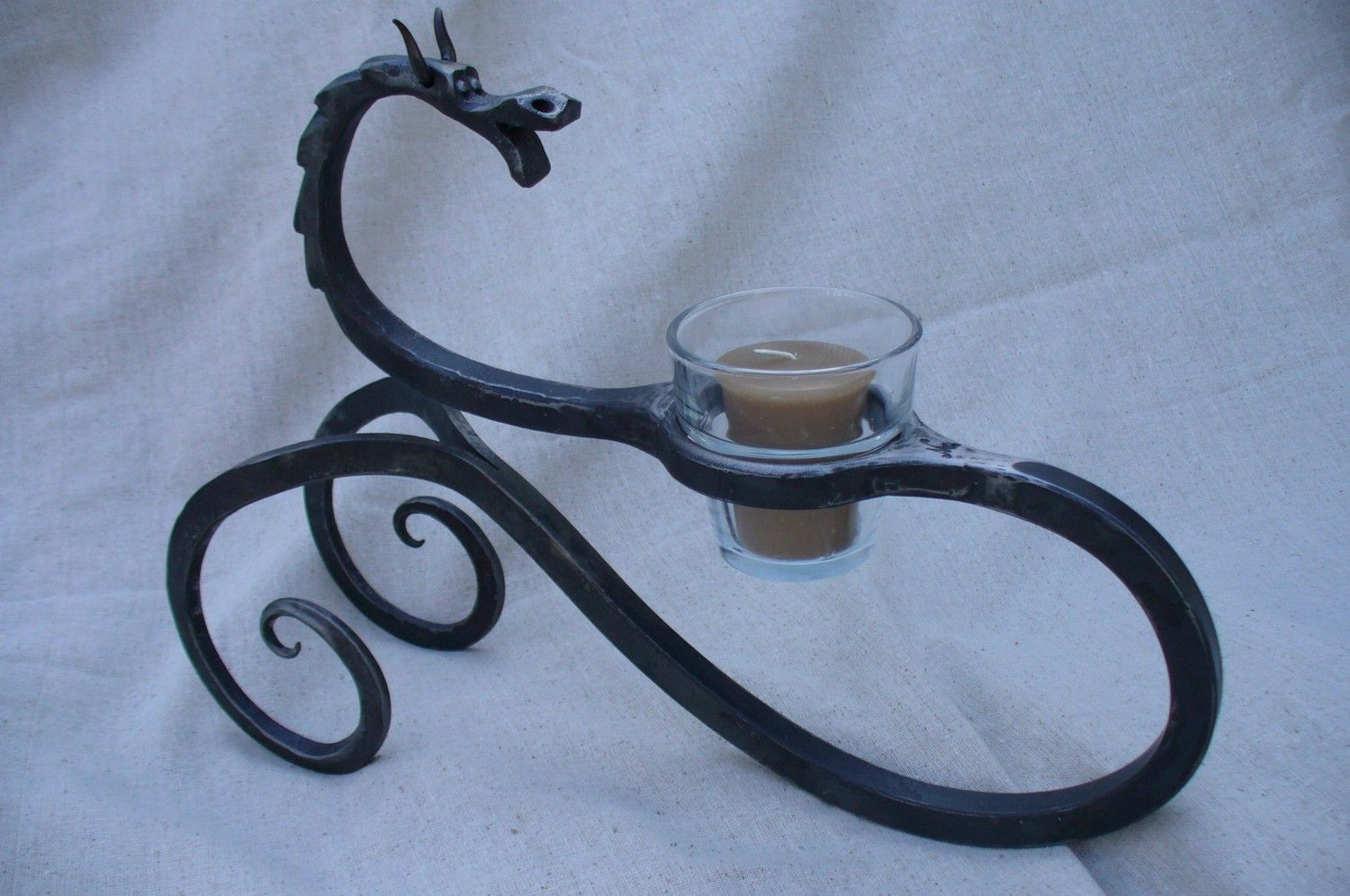 Dark And Light Forging Workbench Dragon Candle Holder Hand Forged By Blacksmith