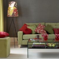 sage green couch and grey walls | Gray walls, sage couch ...