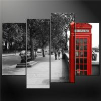 4 Panel Black White And Red Phone Booth London Wall Art ...