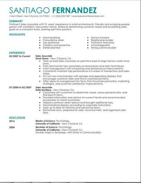 Retail Sales Associate Resume Sample - Retail Sales Associate - retail sales associate