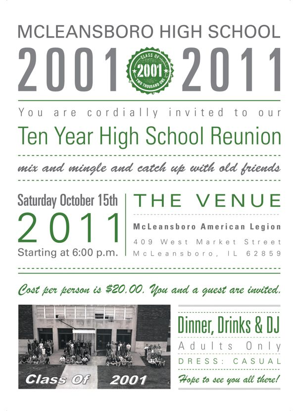 McLeansboro High School Reunion Invitations by Kelly Friederich - class reunion invitation template