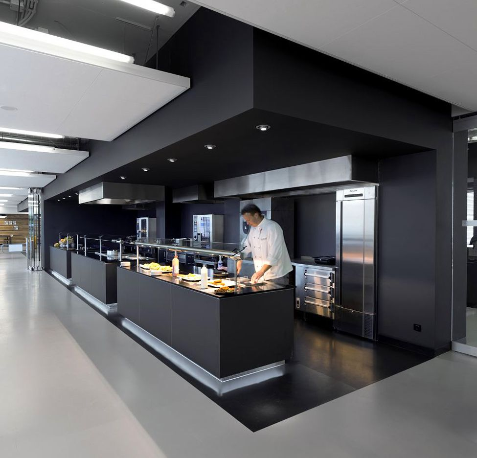 commercial kitchen design Commercial kitchen in a campus The soffits are amazing in this space and I love the finish on the cabinetry