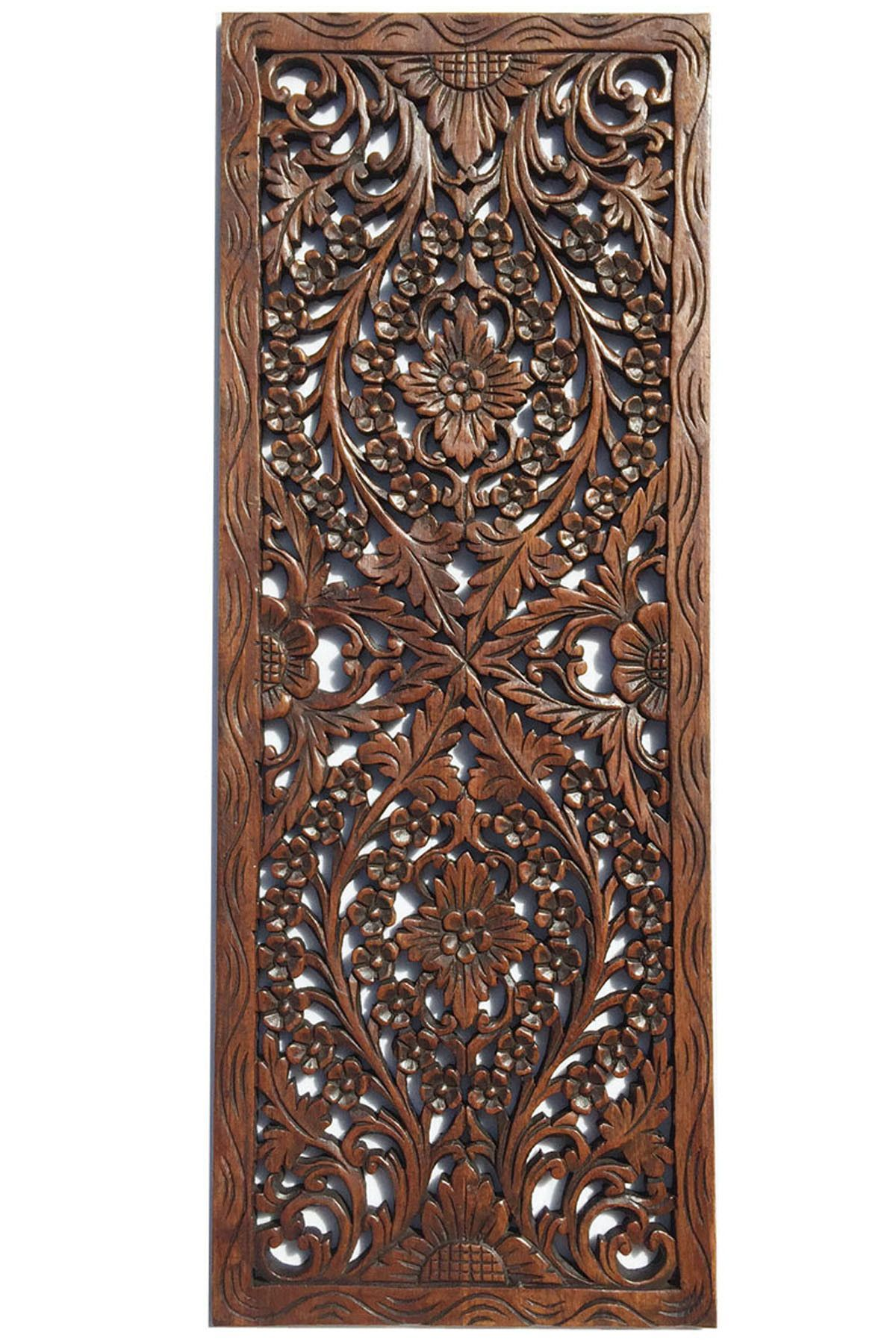 Wall Decor Wood Panel Floral Wood Carved Wall Panel Wall Hanging Asian Home