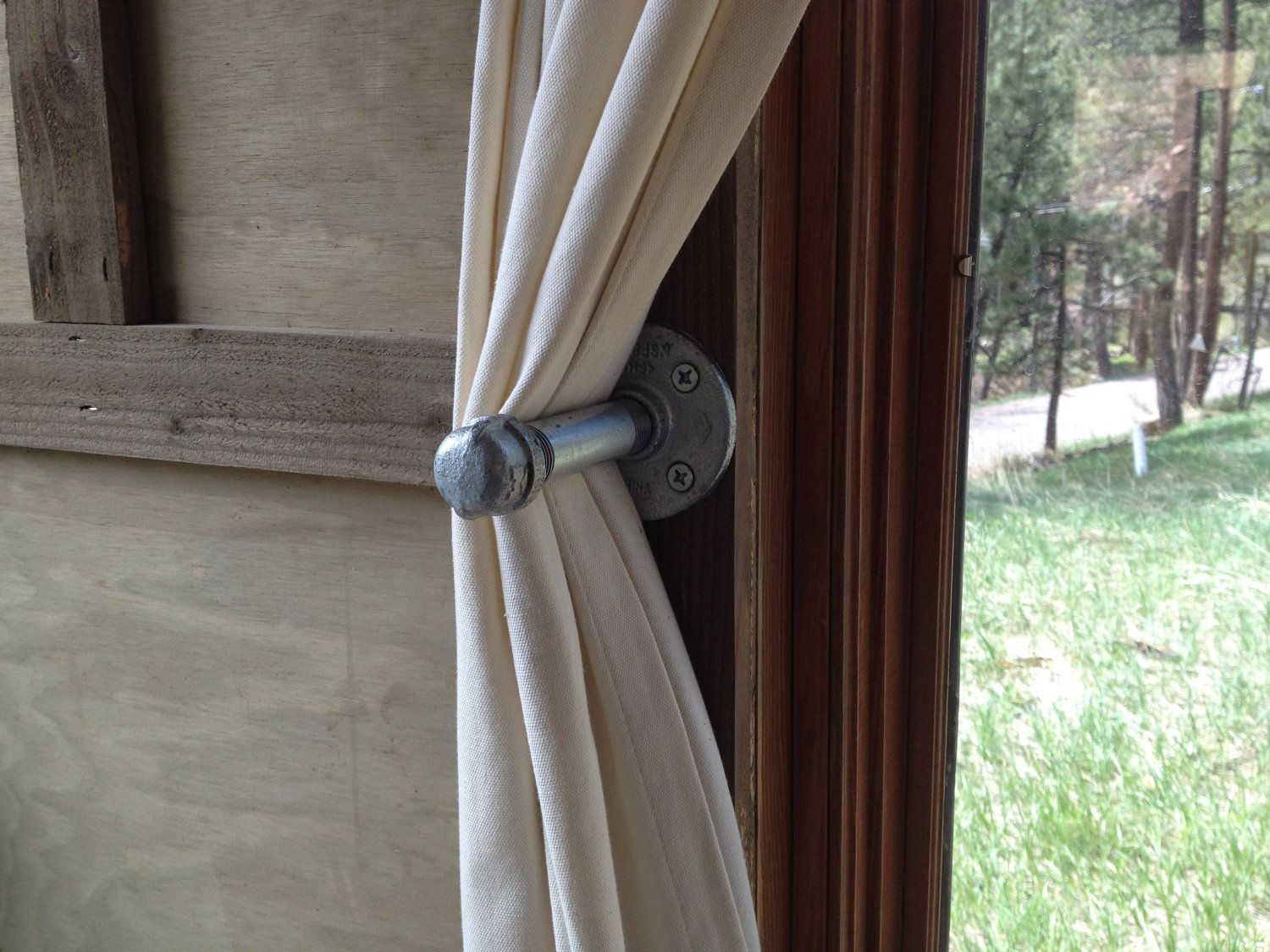 Industrial Chic Curtains Industrial Iron Pipe Curtain Pin Steampunk Chic Quotuhura