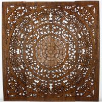Handmade Teak Wood Lotus Wall Panels (Thailand) by ...