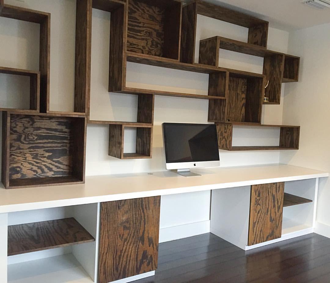 Custom built desk and wall unit.