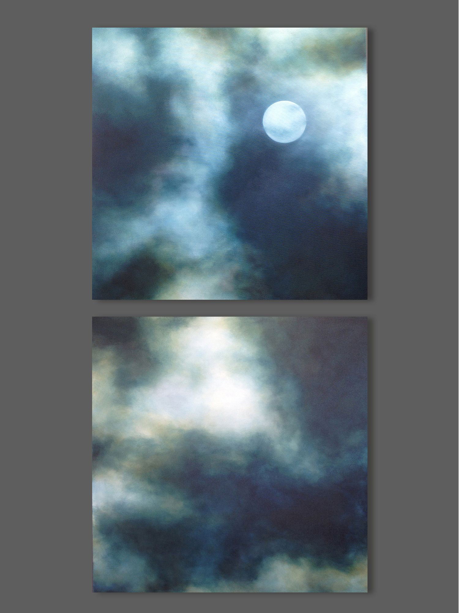 Large Vertical Paintings Moon Painting Night Sky Painting Large Vertical Diptych
