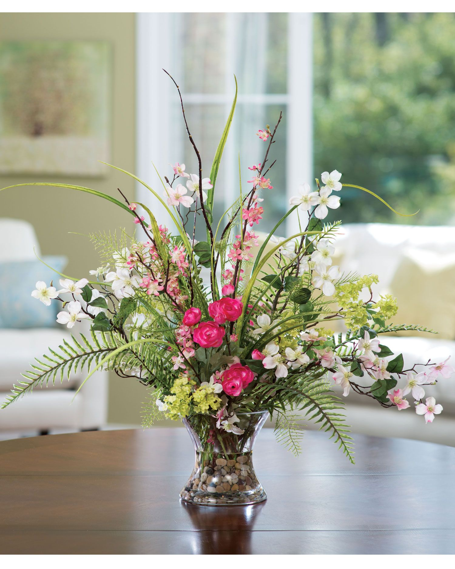Fake Floral Arrangements For Home Spring Decorating With Dogwood Ranunculus And Fern Silk