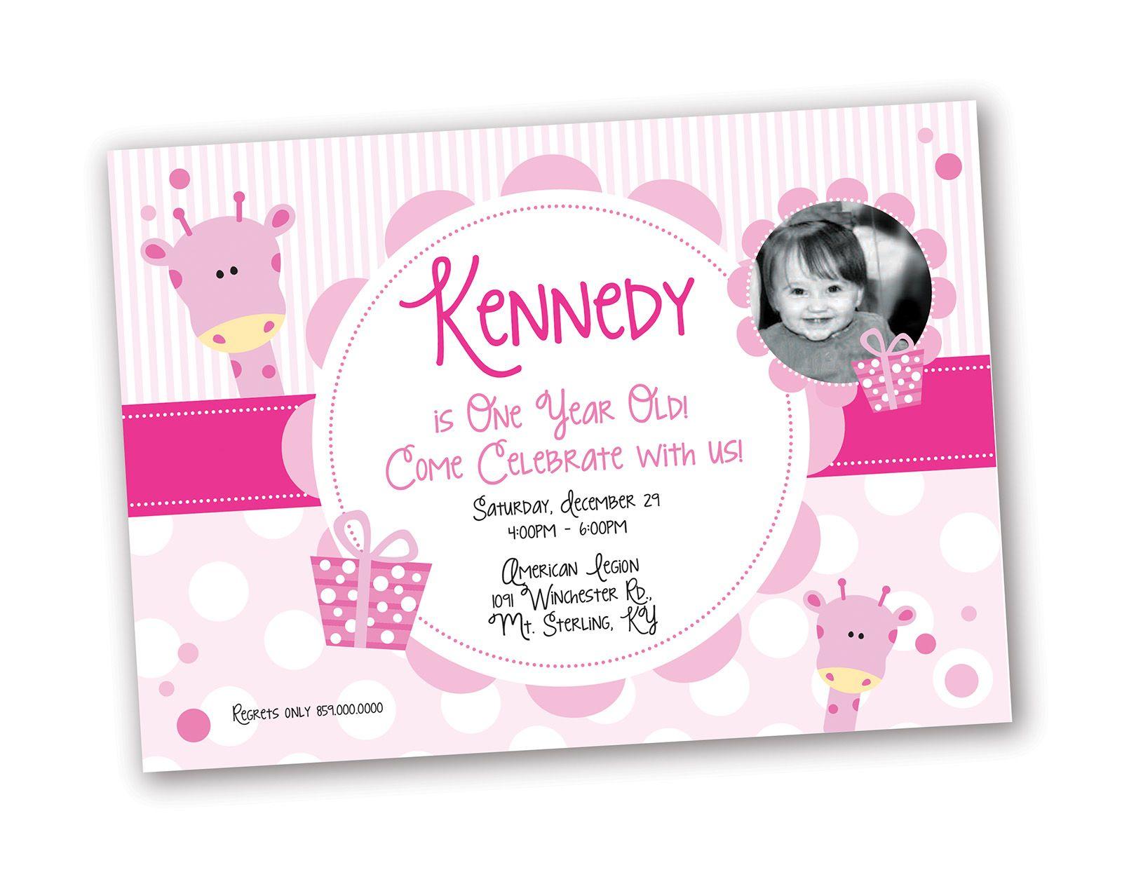1 Year Old Girl Birthday Invitation Giraffe Theme Design