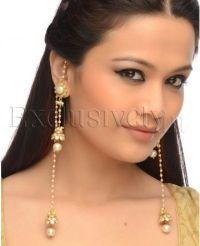 Faux Pearl Jhumki Earrings With Hair Chain | Jewelry ...