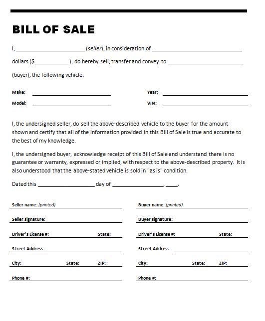 Printable Sample Vehicle Bill of Sale Template Form Attorney - auto sales contract template