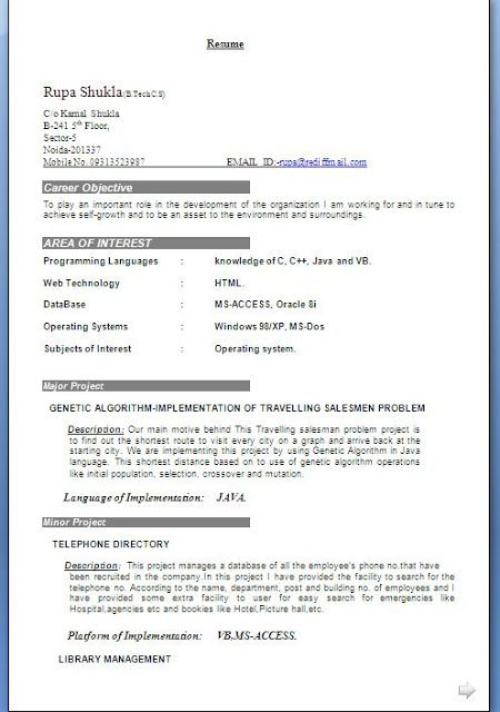 CV Format For Professionals Free Download Sample Template Example - download a resume template